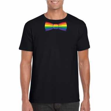 Carnavalskleding zwart t shirt regenboog vlag strikje heren helmond