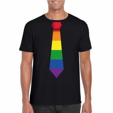 Carnavalskleding zwart t shirt regenboog vlag stropdas heren helmond
