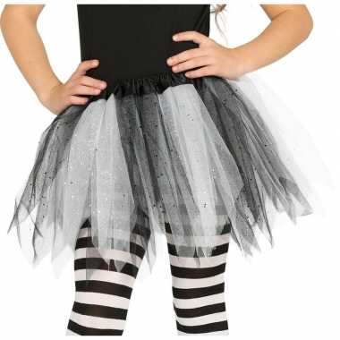 Carnavalskleding zwart/witte verkleed petticoat meisjes helmond