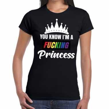 Carnavalskleding zwart you know i am a fucking princess gay pride t s