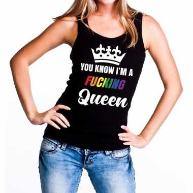 Carnavalskleding zwart you know i am a fucking queen tanktop dames he