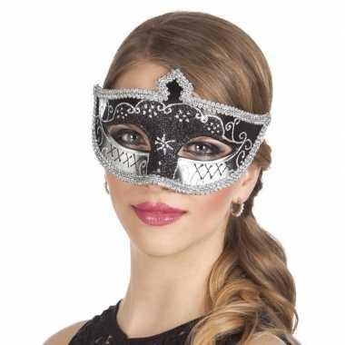 Carnavalskleding zwart/zilver glitter oog masker dames helmond