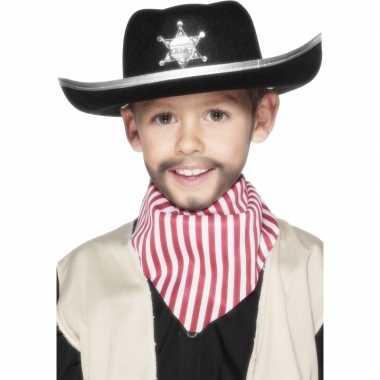 Carnavalskleding zwarte cowboy hoed kids helmond