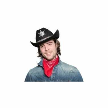 Carnavalskleding zwarte cowgirlhoed / cowboyhoed sheriff ster helmond