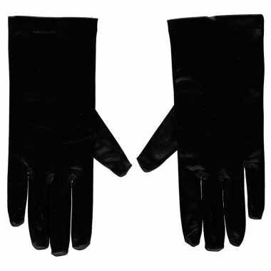 Carnavalskleding zwarte gala handschoenen kort satijn helmond