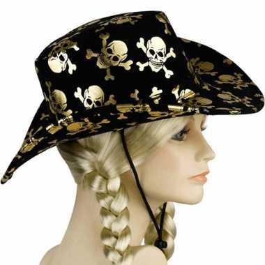 Carnavalskleding zwarte hoed gouden doodskoppen helmond