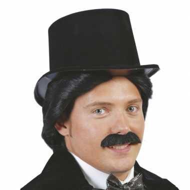 Carnavalskleding zwarte hoge hoed plastic helmond