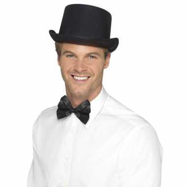 Carnavalskleding zwarte hoge hoed satijn look mannen helmond