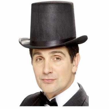 Carnavalskleding zwarte hoge hoed vilt mannen helmond