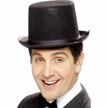 Carnavalskleding zwarte hoge hoeden vilt mannen helmond