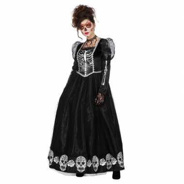 Carnavalskleding zwarte jurk schedels dames helmond