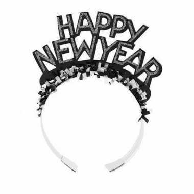 Carnavalskleding zwarte nieuwjaarsdiadeem volwassenen helmond