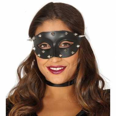 Carnavalskleding zwarte oogmaskers stekels dames helmond