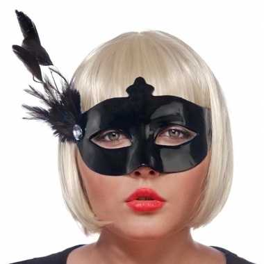 Carnavalskleding zwarte oogmaskers veren dames helmond