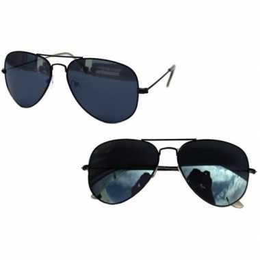 Carnavalskleding zwarte politiebril dames/heren helmond