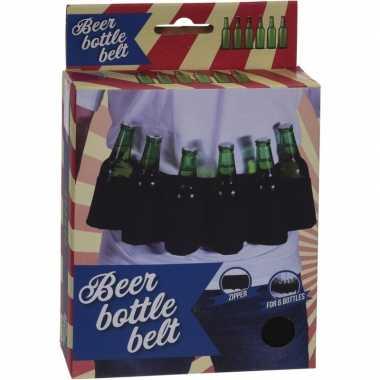 Carnavalskleding zwarte riem pack bierflessen helmond