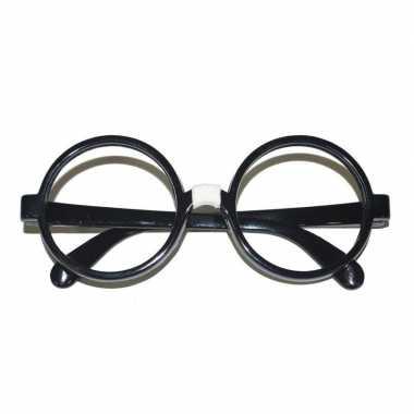 Carnavalskleding zwarte tovenaarsbril volwassenen helmond