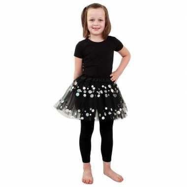 Carnavalskleding zwarte tule rok stippen meisjes helmond
