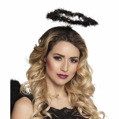 Carnavalskleding zwarte veren engelen hoofdband helmond