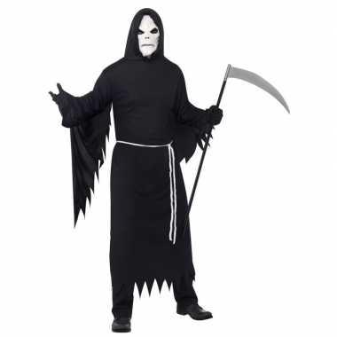De dood carnavalskleding zwart masker volwassenen helmond