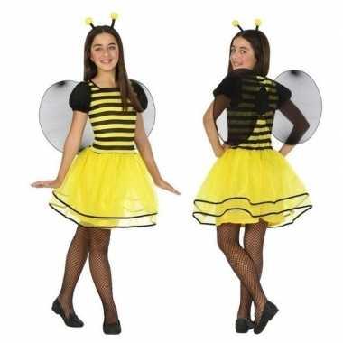 Dierencarnavalskleding bij/bijen verkleed jurk/jurkje meisjes helmon
