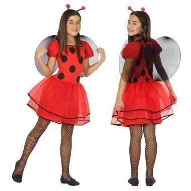 Dierencarnavalskleding lieveheersbeestje verkleed jurk/jurkje meisje