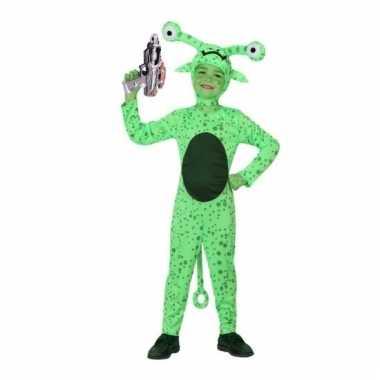 Groen alien carnavalskleding space gun kinderen helmond