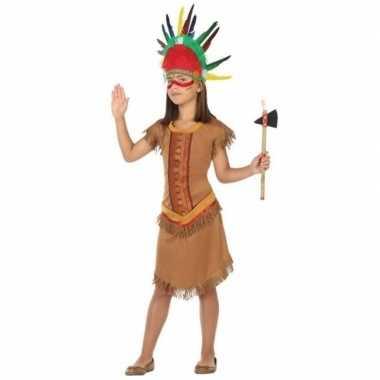 Indiaan/indianen jurk/jurkje verkleed carnavalskleding meisjes helmo