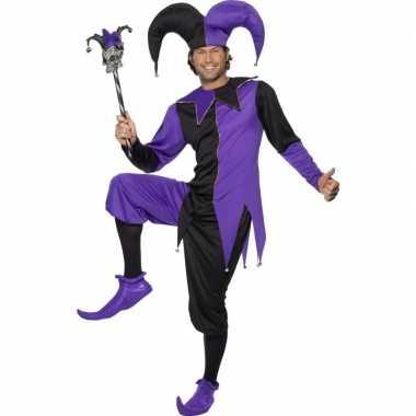 Joker carnavalskleding zwart/paars heren helmond