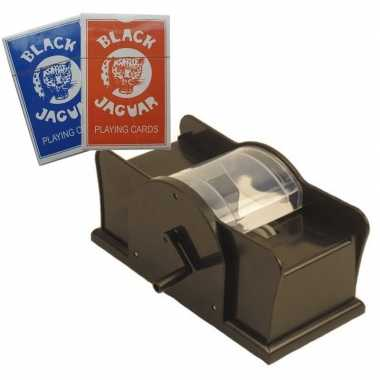 Kaartenschudmachine handmatig twee carnavalskledings speel kaarten h