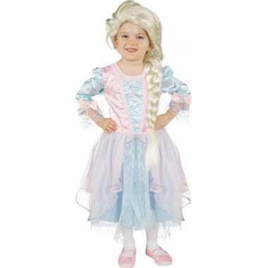 Kindercarnavalskleding blauw zachtroze prinsessenjurk helmond