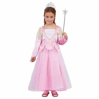 Kindercarnavalskleding roze glitter prinsessenjurk helmond