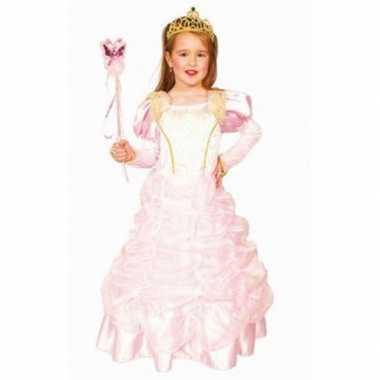 Kindercarnavalskleding roze prinsessenjurk helmond