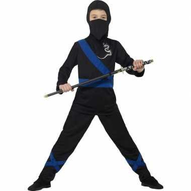 Ninja carnavalskleding zwart/blauw kids helmond