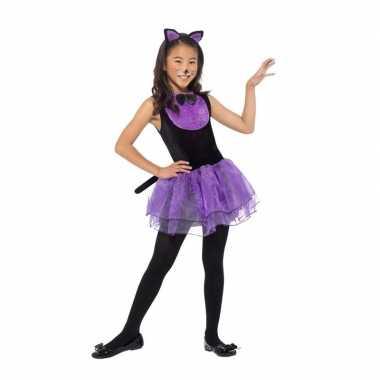 Paars/zwarte katten carnavalskleding meiden helmond