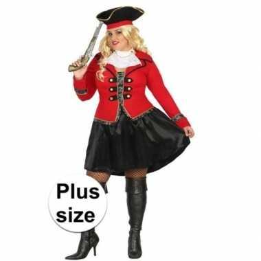 Plus size carnaval piraten carnavalskleding kapitein grace dames hel