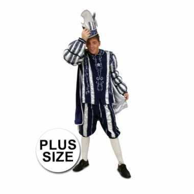 Prins carnaval carnavalskleding blauw/wit grote maten helmond
