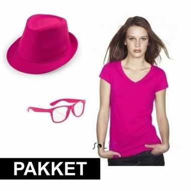Roze feestcarnavalskleding set dames helmond
