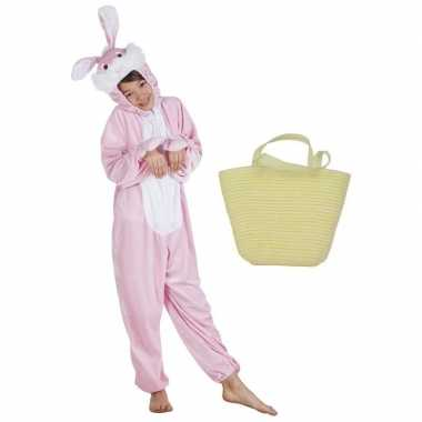Roze konijnen/hazen carnavalskleding maat mandje kinderen helmond