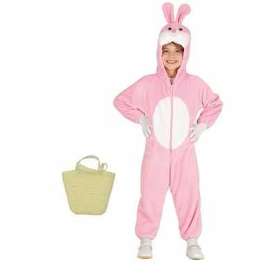 Roze konijnen/hazen carnavalskleding mandje kinderen jr helmond