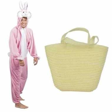 Roze konijnen/hazen carnavalskleding mandje volwassenen helmond