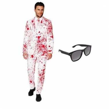 Verkleed bloed print heren carnavalskleding maat (xl) gratis zonnebr