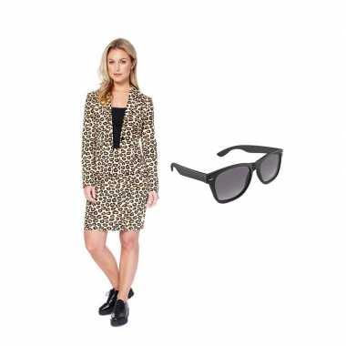 Verkleed dames mantelcarnavalskleding luipaard print maat (l) gratis