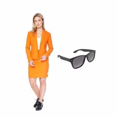 Verkleed dames mantelcarnavalskleding oranje maat (l) gratis zonnebr