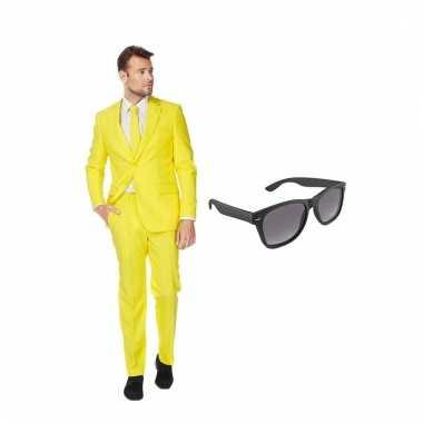 Verkleed geel net heren carnavalskleding maat (xl) gratis zonnebril