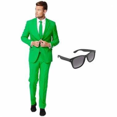 Verkleed groen net heren carnavalskleding maat (xxxl) gratis zonnebr