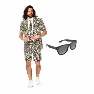 Verkleed luipaard print net heren carnavalskleding maat (l) gratis z