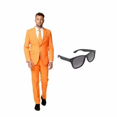 Verkleed oranje net heren carnavalskleding maat (l) gratis zonnebril