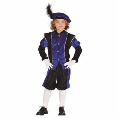 Verkleed pieten carnavalskleding zwart/blauw baret kinderen sinterklaas/ december helmond