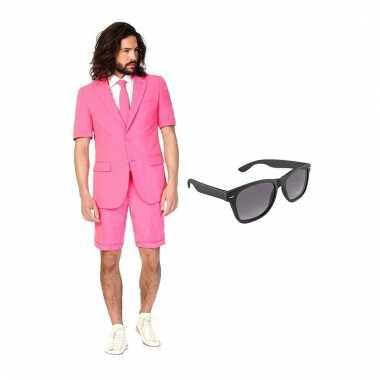 Verkleed roze net heren carnavalskleding maat (xl) gratis zonnebril